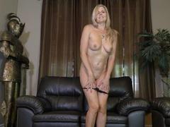 Mature wife velvet skye gets naked and masturbates on the leather sofa, Mature movies at kilovideos.com