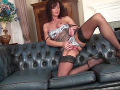 Naughty mature lucy heart pleasures her pink taco on the bed, Mature movies at freekilosex.com