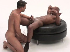 Black dude gets his dick pleasured by a nasty white gay dude movies at freekilomovies.com