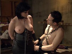 Slutty chick gets tied up and tortured by a dominant stud, BDSM, Fetish, Slave, Spanking videos