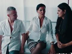 Dacada and mariska share a big dick, Threesome, FFM, Hardcore, Pornstars, MILF, Brunettes, Office, Long Hair, Lingerie, Stockings, Nylon, High Heels, Blowjob, Missionary, Bra, Cowgirl videos