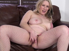 Mel harper enjoys pleasuring her cravings on a leather couch, Mature videos