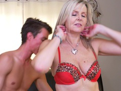 Mature slut velvet skye gets fucked by a younger lover on the bed, Mature videos