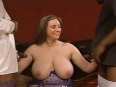 Closeup video of chubby kitty lee getting fucked by two black dudes, BBW videos
