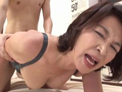 Amateur japanese cougar kitamura toshiyo gets fucked on the bed videos