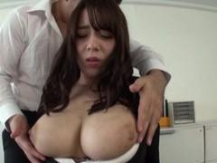 Busty secretary drops on her knees to pleasure 2 coworkers videos