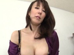 Horny japanese milf takes off her clothes and rides a dildo movies