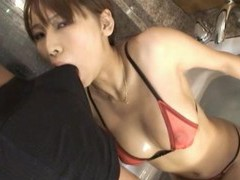Provocative asian escort in thong and stockings gives the best bj movies