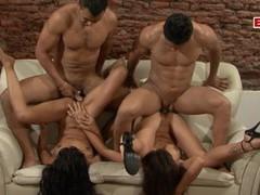 Spanish amateur latina milf gangbang, Foursome, Group Sex, Hardcore, Latina videos