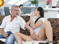 Daddy4k. brunette satisfies her sexual needs using fuckstick, Blowjob, Brunette, Masturbation, Teen (18+), Old &,  Young, HD Videos, Doggy Style, Cunnilingus, Teen (18+) Sex, Shaved Pussy, Teen (18+) Blowjob, Small Boobs, European, Old Young Sex, Dad,  videos