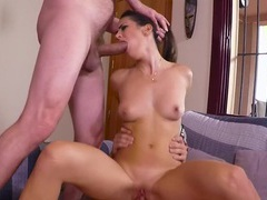Stunning model carolina abril rides one dick while blowing another, Hardcore, Brunettes, Shorts, Blowjob, Pussy, Asshole, Threesome, MMF, Natural Tits, Cowgirl, Shaved Pussy videos