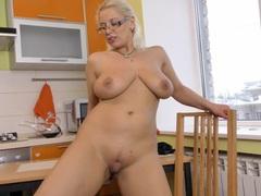 Horny blonde slut luba luve loves fingering her cunt in the kitchen, Mature videos