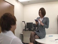 Amazing secretary plays with her pussy and gives a footjob to her boss videos