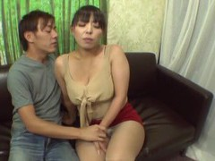 Chubby japanese chick shows her boobs and sucks a large dick videos