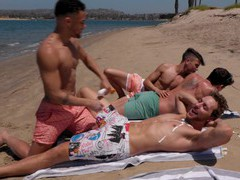 Hot dudes drop their clothes to have wild sex after sunbathing videos