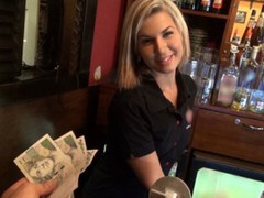 Gorgeous blonde bartender is talked into having sex at work tubes