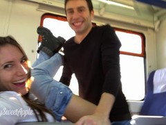 Amateur couple fucking on a train with facial - mysweetapple tubes