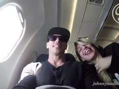 Sinslife - crazy couple public sex blow job on an airplane! movies at find-best-babes.com