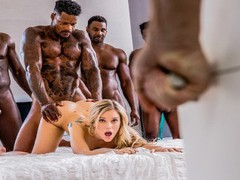 Blacked kali rose gets passed around by six bbcs tubes