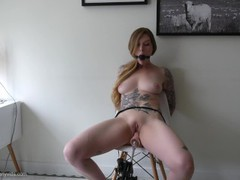 Bound orgasm torture - tied up, ballgagged, and squirting! tubes