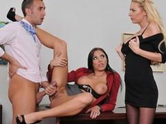 Slutty big-booty secretary & her blonde coworker fuck their boss, Big Ass, Pornstar, Threesome, Brazilian movies at kilomatures.com