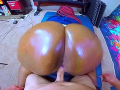 Impregnate me - black cop whore takes intentional jizz from huge white cock tubes