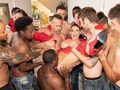 Jules jordan - swarmed by 13 guys angela white's biggest blowbang ever, Big Ass, Babe, Big Tits, Brunette, Blowjob, Bukkake, Cumshot, Hardcore, Pornstar, Gangbang tubes