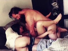 Husband and bestfriend take turns cumming in wife. tubes
