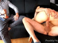Cuckold husband watches his young wife creampied and licked his cum tubes