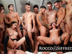 Roccosiffredi two babes get destroyed by a huge group of guys in an amazing gangbang, Big Ass, Big Tits, Cumshot, Hardcore, Pornstar, Anal, Double Penetration, Popular With Women, Gangbang, Pussy Licking videos
