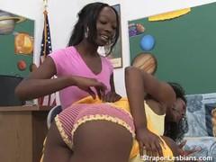 Ebony strapon lesbian anal teacher videos