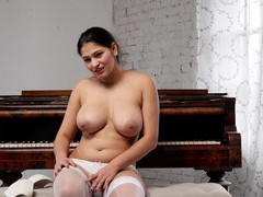 Chubby solo amateur ava black moans with pleasure while masturbating, Solo Models, Masturbation, Curvy, Brunettes, Bra, Panties, Lingerie, Stockings, Nylon, Long Hair, Fingering, Shaved Pussy, Pussy movies at freekilomovies.com