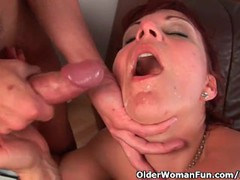Mature mom gets her gaping pussy muscle fucked, Big Ass, Big Dick, Hardcore, Mature, Red Head videos