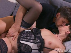 Mom mature housewife in stockings squirting after blowjob and deep fuck, Brunette, Hardcore, MILF, Pornstar videos
