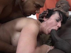 Granny threesomes with 2 black men shoving cocks in her mouth and pussy, Amateur, Big Dick, Brunette, Hardcore, Interracial, Mature, Threesome, Double Penetration movies