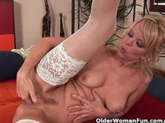 Hot granny gives her creamy pussy and tight ass a treat, Blonde, Masturbation, Mature movies at find-best-babes.com