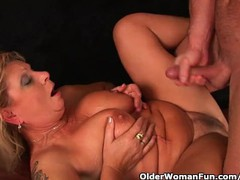 Squirting granny sprays her juice all over the couch, Big Tits, Blonde, Mature movies at find-best-babes.com