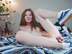 Melody cums in white ankle socks and blue vans while playing with her toy, Masturbation, Toys, Teen (18+), Red Head, Small Tits, Transgender, Verified Models movies at find-best-panties.com