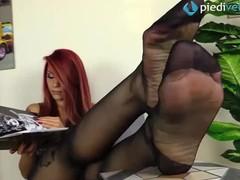 Redhead feet in rht black pantyhose, Babe, Red Head, Feet videos