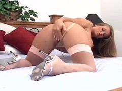 Blonde fingering in a bra panties and stockings, Blonde, Masturbation, Pornstar, Striptease movies at find-best-videos.com
