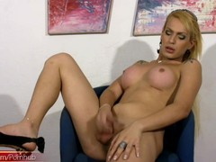 Latina t-girl in jeans skirt reveals boobs and shaved dick, Big Tits, Blonde, Masturbation, Transgender tubes