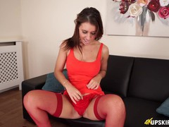 Hot brunette lets you look up her skirt and wank over her pussy!, Brunette, Fetish, Pornstar, POV, Role Play, British movies at find-best-videos.com
