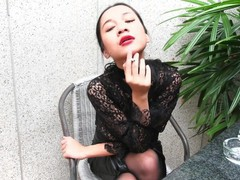 Vrpussyvision.com - girl smokes topless and in leather skirt, Amateur, Brunette, Teen (18+), Smoking videos