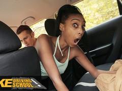 Fake driving school ebony brit asia rae gets stuck and fucked, Babe, Blowjob, Cumshot, Ebony, Public, Reality, British tubes