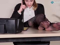 Redhead secretary shows off feet while talking on the phone, Fetish, Red Head, Feet videos
