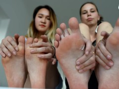 Foot size rivalry and comparing on workplace (office feet, big feet, small feet, foot teasing, toes), Babe, Brunette, Lesbian, Feet movies at freekilomovies.com