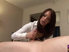 Nasty cfnm sucking on voyeur cock, Babe, Brunette, Blowjob, Fetish movies