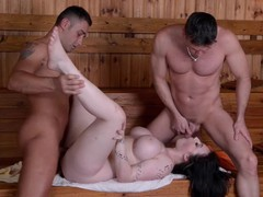 Must-see sauna threesome with busty british cock-addict harmony reigns, Big Tits, Brunette, MILF, Pornstar, Reality, Threesome movies at freekiloclips.com