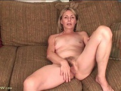 Hairy mature cunt is yummy in close up movies at lingerie-mania.com
