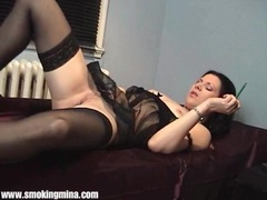 Perfect sheer black lingerie on smoking girl videos